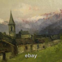 Tableau peinture cadre ancien italien signé paysage huile sur masonite 800