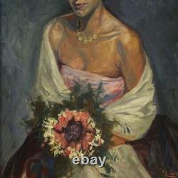 Tableau peinture cadre portrait de femme signé technique mixte style ancien