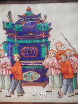 Tableau peinture chinoise ancienne Canton 19 siècle feuille papier riz chinois 1