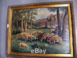 Tableau peinture huile 1941 bergere mouton ancien paysage bertrand boyer