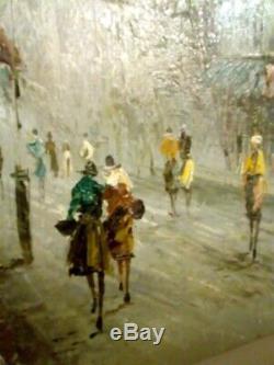 Tableau peinture huile rue animée rare ancien signe baltimore 20 eme