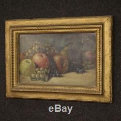 Tableau peinture huile sur carton nature morte fruits style ancien cadre 900