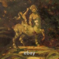 Tableau peinture huile sur carton paysage style ancien impressioniste cadre