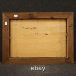 Tableau peinture huile sur tablette marine paysage signé style ancien 900