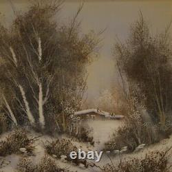 Tableau peinture huile sur toile avec cadre paysage signé style ancien 900