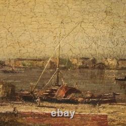 Tableau peinture huile sur toile paysage marine style ancien avec cadre 900
