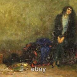 Tableau peinture huile sur toile scène d'intérieur style ancien impressioniste