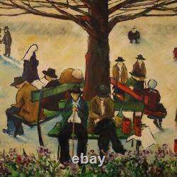 Tableau peinture huile sur toile sign avec cadre style ancien personnages