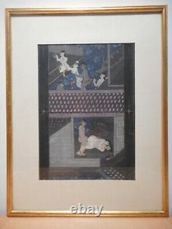 Tableau peinture indienne ancienne kamasutra indien hindou Inde jeu erotique 1