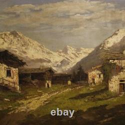 Tableau peinture italien huile sur toile signé paysage cadre style ancien 900