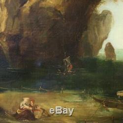 Tableau peinture italien marine paysage huile sur toile cadre ancien 800 art