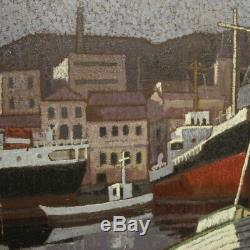 Tableau peinture marine paysage huile toile signé cadre italien style ancien