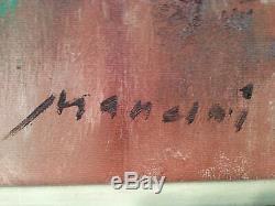 Tableau peinture nature morte cadre dorée fleurs huile sur toile signé XX ancien