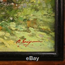 Tableau peinture paysage avec personnages huile sur toile signé style ancien