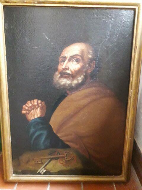 Tableau Peinture Religieuse Ancienne 18eme Moine Encadrement Bois Doré