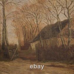 Tableau peinture signé ancien huile sur toile paysage cadre 800 19ème siècle
