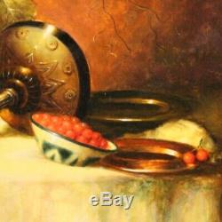 Tableau peinture signé huile sur tablette nature morte avec cadre style ancien