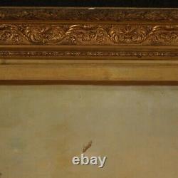 Tableau peinture signé huile sur toile avec cadre ancien 800 paysage personnage