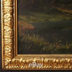Tableau peinture signé huile sur toile paysage montagne style ancien 900