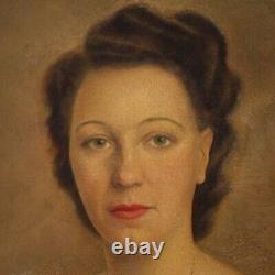 Tableau peinture sur toile avec cadre style ancien portrait de femme art 900