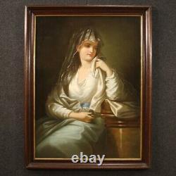 Tableau portrait peinture ancienne huile sur toile avec cadre 800 19ème siècle