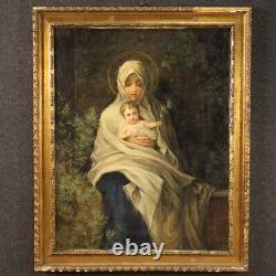 Tableau religieux Vierge avec enfant huile sur toile peinture style ancien