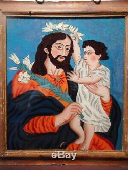 Tableau religieux ancien 19 siècle peinture fixé sous verre Joseph enfant Jesus