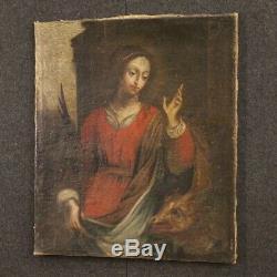 Tableau religieux ancien peinture huile sur toile Sainte Agnès 700 18ème siècle