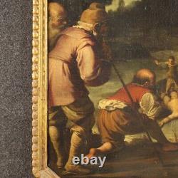 Tableau religieux ancien peinture huile sur toile avec cadre 600 17ème siècle