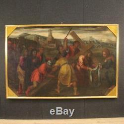 Tableau religieux ancien peinture huile sur toile cadre art Christ flagellé 700