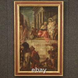 Tableau religieux ancienne peinture huile sur toile Jésus et Hérode 600