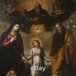 Tableau religieux ancienne peinture huile sur toile avec cadre 700 18ème siècle