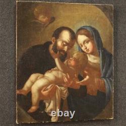 Tableau religieux peinture ancien huile sur toile Sainte Famille 18ème siècle