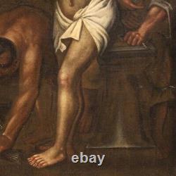Tableau religieux peinture ancienne huile sur toile Christ à la colonne 700