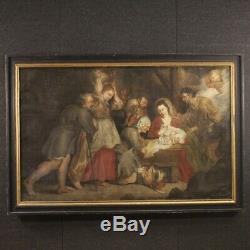 Tableau religieux peinture ancienne huile sur toile nativité 700 18ème siècle