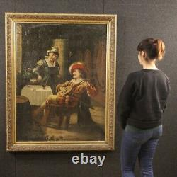 Tableau scène d'intérieur peinture huile sur toile avec cadre style ancien 900