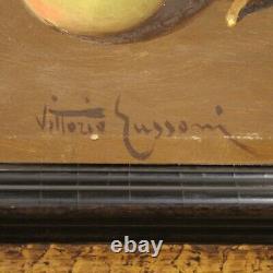 Tableau signé huile sur panneau nature morte peinture avec cadre style ancien
