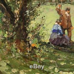 Tableau signé paysage avec personnages peinture style ancien huile sur tablette
