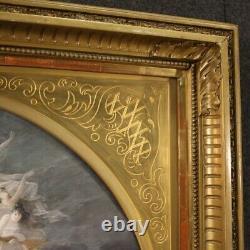 Tableau signé peinture ancien esquisse de éventail nu avec cadre doré