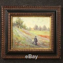 Tableau signé peinture huile sur tablette paysage avec personnages style ancien