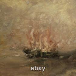Tableau signé peinture marine paysage huile sur toile avec cadre style ancien