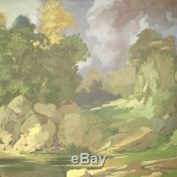 Tableau signé peinture sur toile cadre paysage style ancien impressioniste 900