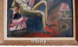 Tableau toile peinture ancienne fauvisme femme nue maison close signé A. CHABAUD