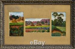 Tableaux anciens, Trois huiles de paysage daté 1909, signature a déchiffré