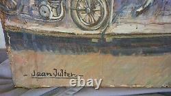 Tableaux peinture ancienne manège à la butte Montmartre, Paris scène d'enfant