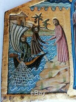 Très Ancien Tableau Peinture Religieuse Bois Icone Fond Or Painted Icon Ikon