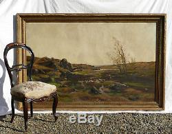 Très Grand Tableau Paysage De Landes Automnal Huile Peinture Hst XIX ème ancien