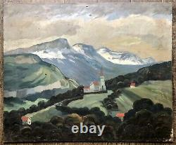 VAGH-WEINMANN Nandor Tableau Ancien Paysage Annecy Montagne Alpes Neige Peinture