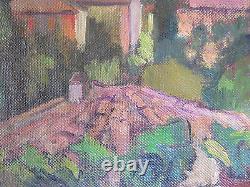 Vue depuis la Fenêtre Du Peintre Petit tableau Ancienne Peinture Huile Signé p3
