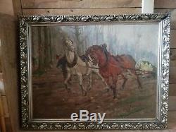 Yan Claes HST Huile sur toile tableau ancien peinture chevaux signé encadré